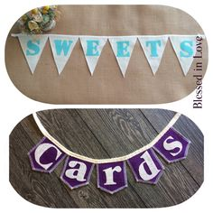Set of two burlap banners SWEETS and our mini by BlessedinLove