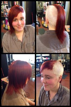 Fire and Ice! Platinum blonde and fire red extreme asymmetrical cut done by Akisha's Hair Designs at Star Image Salon of Tulsa