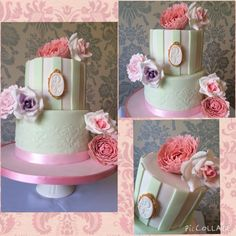A two tier cake for Daniel and Karen's wedding. Strawberries and cream bottom tier, and white chocolate top tier both filled with a delicious white chocolate ganache. A beautiful cake, for a beautiful couple!