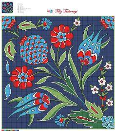 """Filiz Türkocağı, Author of """"Embroidery in Iznik pottery style (Turkey)"""" Cross Stitching, Cross Stitch Embroidery, Embroidery Patterns, Hand Embroidery, Cross Stitch Designs, Cross Stitch Patterns, Cross Stitch Pillow, Vintage Cross Stitches, Turkish Art"""