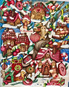 Art Drawings For Kids, Colorful Drawings, Easy Drawings, Adult Coloring, Coloring Books, Coloring Pages, Christmas Art, Xmas, Markova