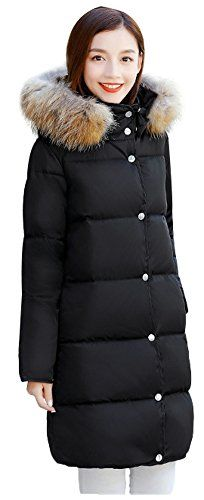 7942fe2a778 Wanture Womens Plus Size Down Coat With Fur Hood Winter Outwear Packable Parka  Puffer Jacket Black 5XLBust 52    Click on the image for additional details.