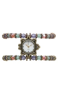Watch with Swarovski® Crystal Beads and Metal Beads