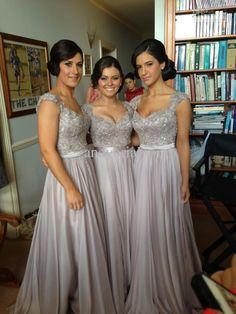 A-line Cap Sleeves Backless Floor-Length Chiffon Bridesmaid Dress-