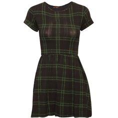 Tartan Print Short Sleeved Skater Dress in Black | ChiaraFashion ($17) ❤ liked on Polyvore featuring dresses, grunge dress, short sleeve dress, short-sleeve dresses, tartan dress and plaid dress