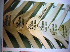 Wood burning wedding hangers