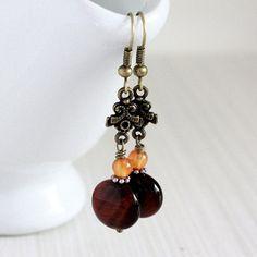 Brown BouefEye Stone Bead Earrings  A.1391 by allunder5 on Etsy, $3.00
