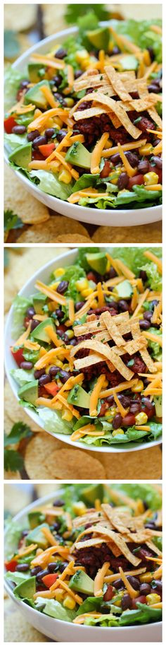 Taco Salad - Start the new year right with this healthy taco salad tossed in a refreshing, tangy lime vinaigrette!