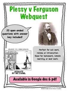 This is a 20 question webquest on the Supreme Court case, Plessy v Ferguson. Students go to history.com and answer they questions as they read the article. Students will learn who Plessy is, what the Supreme Court ruled with this case, the impact of this case, and when it was overturned. Answer k... Question And Answer, This Or That Questions, Supreme Court Cases, 20 Questions, Teaching History, Students, Learning, Study