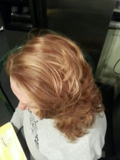 Strawberry blonde all over color with buttery blonde highlights