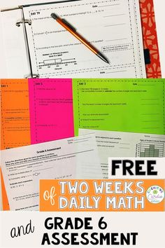 Check out this free Grade 6 math assessment with two weeks of spiral math warm ups.