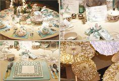 Caspari Lattice & Sillhouette paper plates and napkins