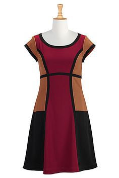 I <3 this Colorblock A-line crepe knit dress from eShakti