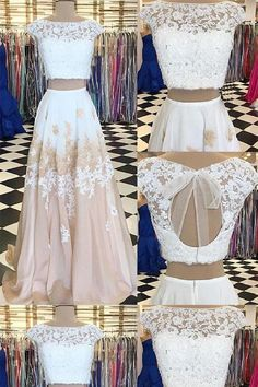 Lace White Prom Dresses #LaceWhitePromDresses, White Prom Dresses #WhitePromDresses, Evening Dresses Two Piece #EveningDressesTwoPiece, Evening Dresses Long #EveningDressesLong, Prom Dresses 2019 #PromDresses2019, Evening Dresses Lace #EveningDressesLace