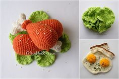 crochet food - Chicken More - Crochet Fruit, Crochet Food, Crochet For Kids, Free Crochet, Knit Crochet, Knitting Projects, Crochet Projects, Crochet Market Bag, Food Patterns