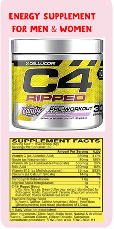 America's #1 Pre-Workout Brand 150mg of Caffeine Per Serving 0 Sugar, 0 Calories, and 0 Carbs Per Serving C4 Ripped Weight Loss Blend 1.6g CarnoSyn Beta-Alanine,work out,fitness diet,exercise,eat fit,fit bodie,how to get fit,fitness quots,Energy Supplement Explosive Workouts, Glute Isolation Workout, Kinobody Workout, Workout Motivation, Tretinoin Before And After, Clamshell Exercise, Fitness Diet, Elle Fitness, Health Fitness