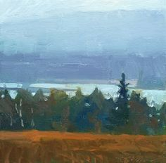 Frank Hobbs: The Penobscot River, Maine, Winter, oil on canvas, 12 x 12 in.