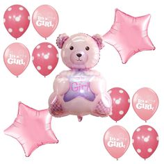 Baby Shower Supplies It's a Girl Mylar Foil Balloons Teddy Bear Pink Decorations #Anagram #BabyShower