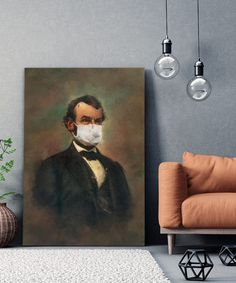 tableau-deco-covid-19-abraham-lincoln-3 Abraham Lincoln, Tableau Pop Art, Decoration, Portrait, Painting, Canvas, Paint, Decor, Men Portrait