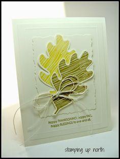 Paper: SU very vanilla Ink: SU baked brown sugar Stamps: SU Wonderfall, Falling leaves Other: score pal, nesties, twine