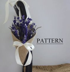 Burlap Cone with Tying Ribbons Sewing Pattern. Chair pew aisle decor. PDF ePattern for your DIY rustic wedding. Designed by Nutfield Weaver.