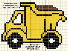 Grille gratuite point de croix : Camion de travaux
