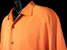 Tommy Bahama Mens Peach Embossed Leaf Silk Camp Shirt Short Sleeve Size L EUC #TommyBahama #Hawaiian