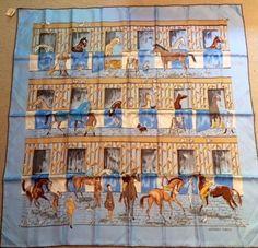 "Hermes  Bleu ""Les Boxes"" by Jean-Louis Clerc  90cm Silk Scarf"