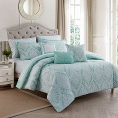 Infuse your bedroom with elegance courtesy of the Hyde Damask Comforter Set. Embellished with a textured damask pattern in soothing shades of aqua and white, the beautiful bedding adds a lovely look to any room& décor. Elegant Comforter Sets, Queen Comforter Sets, Bedding Sets, Aqua Bedding, Beach Bedding, Coastal Bedding, Teen Bedding, Coastal Decor, Damask Decor