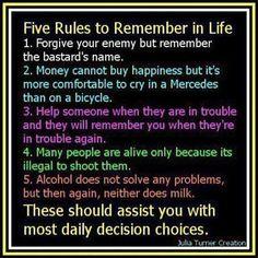 5 Simple Rules. I'll start working on memorizing them tomorrow.