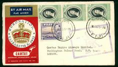Coronation envelope 1953. Royal air mail from Fiji. Lovely!