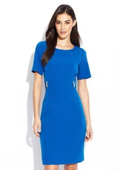 TAHARI ARTHUR S. LEVINE Waist Detail Short Sleeve Dress @ideeli