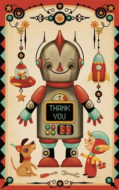 Vintage Illustration Gaia Bordicchia Illustrations: A spark, a robot, a whirlpool and a card. Robot Illustration, Graphic Design Illustration, Decoupage, Vintage Robots, Universe Art, Baby Kind, Retro Futurism, Art Design, Belle Photo