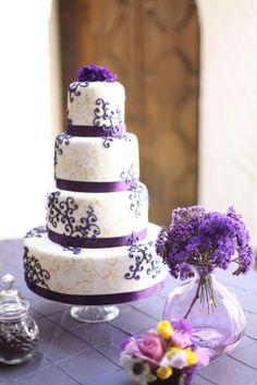 purple and yellow / gold wedding cake!