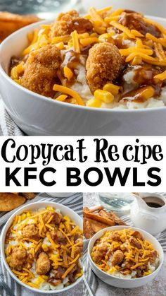 If you love takeout but would rather make it at home then you need to whip up these KFC Bowls. With only 5 ingredients and only minutes to make it& a quick and easy dinner recipe. Quick Easy Dinner, Quick Easy Meals, Easy Dinner Meals, Easy Dinners For Two, Dinner Healthy, Dinner Ideas, Dinner Bowls, Best Dinner Recipes, Chicken Recipes