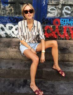 COPENHAGEN | Look De Pernille - celine sunglasses, mariniere striped shirt, denim cutoff shorts and hermes oran sandals