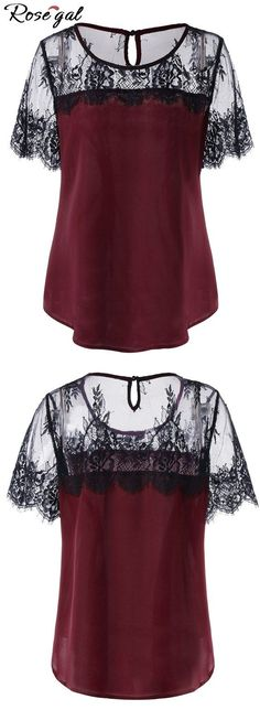 Plus Size Lace Trim Curved Blouse Red Blouses, Blouses For Women, Casual Outfits, Fashion Outfits, Fashion Women, Leggings Outfit Fall, Crop Top Shirts, Dressy Tops, Plus Size Blouses