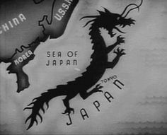 """Depiction of Japan in, (I believe) Frank Capra's WWII propaganda films """"Why We Fight,"""" or US propaganda film """"Our Enemy -- The Japanese."""" No racist/anti-Japanese meanings are implied by this image (at least not by me!) Fascinating."""