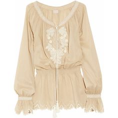 Collette by Collette Dinnigan Embroidered cotton blouse ($180) ❤ liked on Polyvore