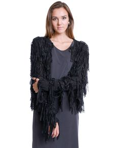 +Stretchy tape yarn sweater cardigan with fringe details