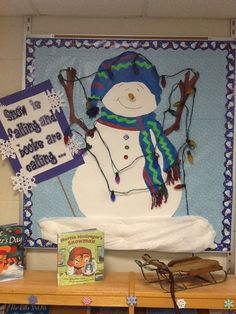 """Books and Needlepoint - January Bulletin board - same snowman - now says """"Snow is falling and books are calling"""" Elementary Bulletin Boards, Music Bulletin Boards, Winter Bulletin Boards, Bulletin Board Display, Elementary Library, Classroom Bulletin Boards, Classroom Door, Classroom Ideas, School Displays"""
