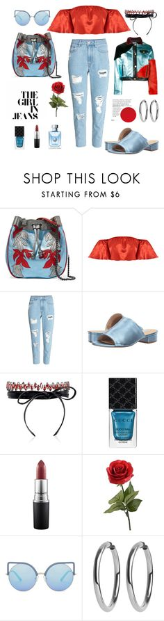"""""""Metallic Set for the first spring days"""" by xenia-fashionista ❤ liked on Polyvore featuring Philosophy di Lorenzo Serafini, Steve Madden, Fallon, Gucci, MAC Cosmetics, Fraiche, Matthew Williamson and rippedjeans"""