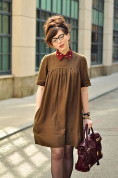 dotted tights + shift dress + dotted blouse