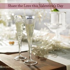Raise a toast to love this Valentine's Day! Set the mood with these stylish crystal champagne flutes filled with your favorite bubbly!  #LoveRB http://www.reedandbarton.com/tempo-toasting-flute-set-of-2