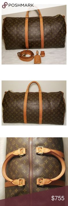 LV Monogram Keepall Bandouliere 55 In great used condition. Has minor unnoticeable cracks on parts of the vachetta which is pictured. The strap has minor stains but no cracking. Comes with luggage tag and handle holder. Better price elsewhere Louis Vuitton Bags Travel Bags