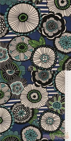 strong blue oxford cotton fabric with large circle-shaped flowers in black, white, green, etc. and white stripes patches on background, Material: 100% cotton #Cotton #Oxford #Flower #Leaf #Plants #JapaneseFabrics