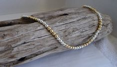 14K Gold Filled Sterling Silver Ball Bead Necklace, 14K Gold & Sterling Silver Necklace, Beaded Necklace, .925 and Gold Filled Necklace,
