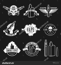 Set Of Vape, E-Cigarette Emblems, Labels, Prints And Logos. Vector Vintage…