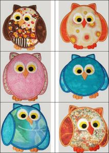 """""""Cheery Owls Applique"""" includes 6 sweet owls you can create in any color because they're applique & oh sew versatile!"""