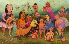 """Greasy Girl Gaggleacrlic on wood, 24"""" x 37"""", 2002"""